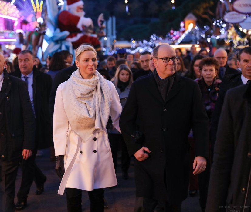 Le Couple Princier en visite sur le Village de Noël 2017.